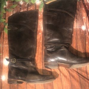 Frye knee high leather Goodyear welt boots size 9